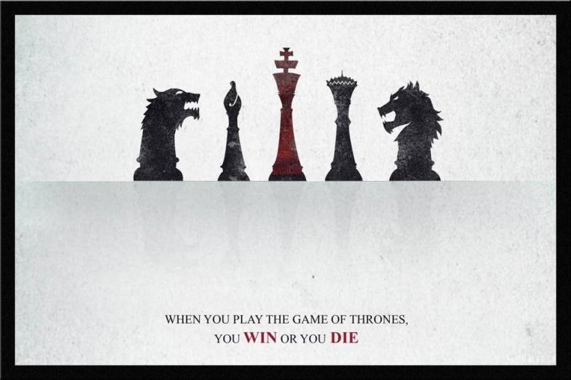 Glass Framed Wall Art By Spoilt - Game Of Thrones Win Or Die Paper ...