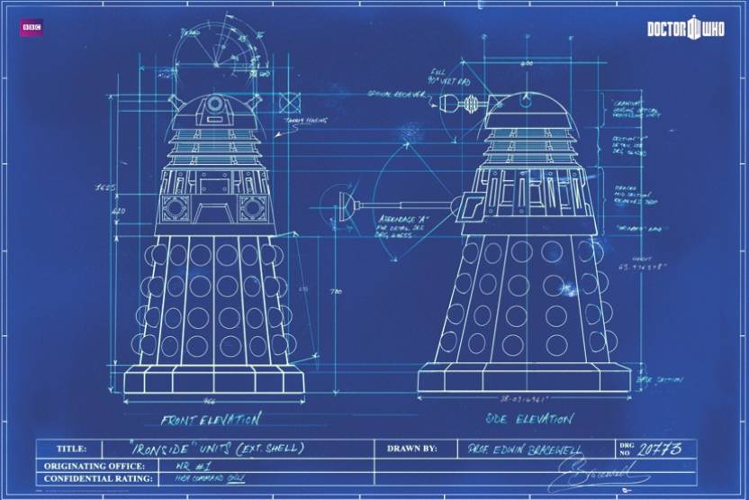 Doctor who dalek blueprint paper print tv series posters in doctor who dalek blueprint paper print malvernweather Choice Image
