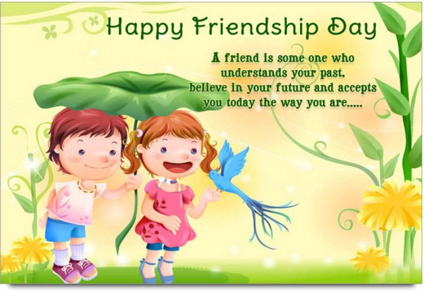 Amy Two Kids With Birds Happy Friendship Day Poster Paper Print