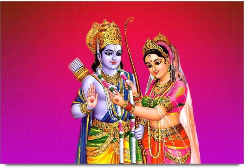 Lord Rama Sita Artwork Design Laminated Poster Paper Print