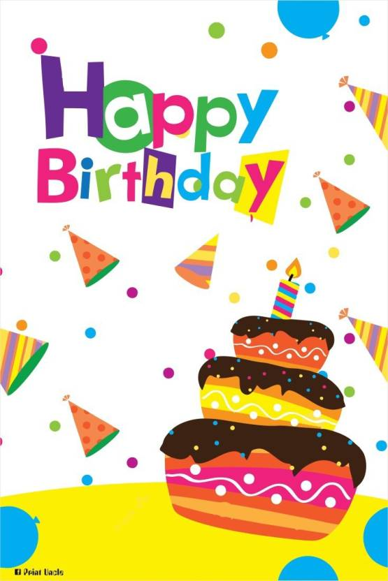 Athah Poster Poster Happy Birthday Cake Paper Print Rolled Paper