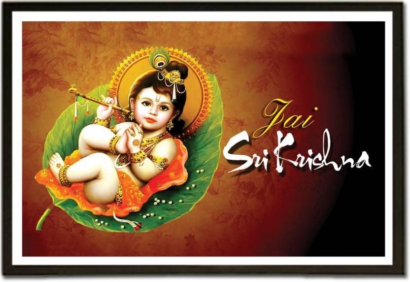 Framed Jai Shri Krishna Fine Art Print Religious Posters In India