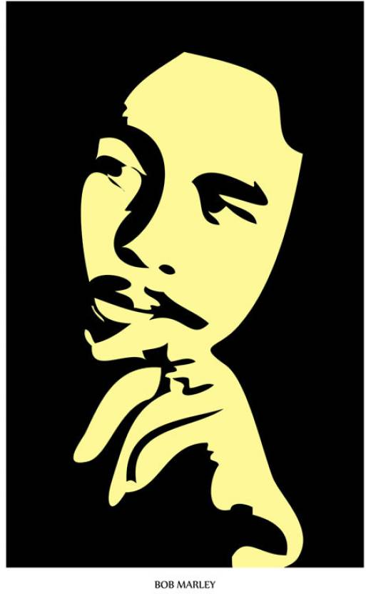 Bob Marley Silhouette Paper Print Music Personalities Posters