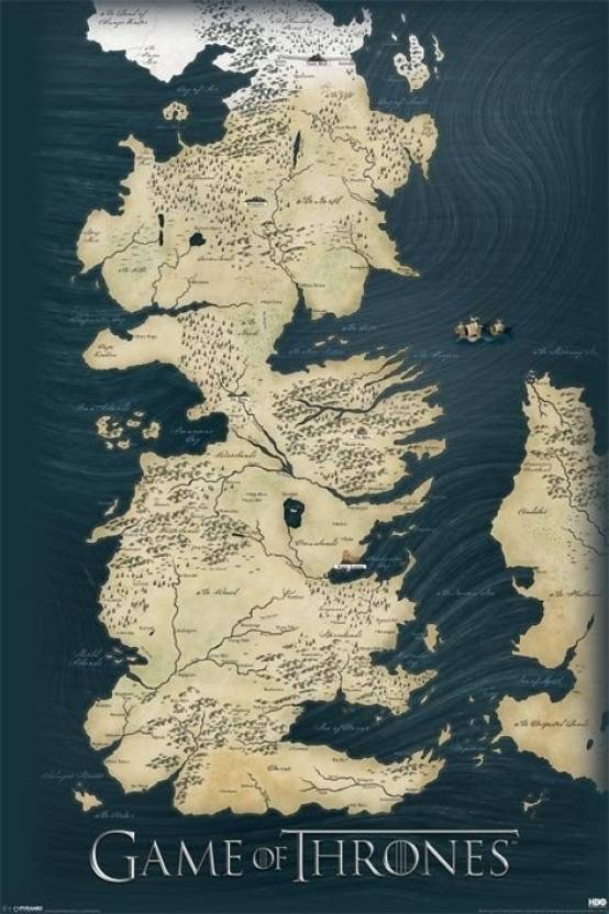 Game of thrones map paper print maps posters in india buy art game of thrones map paper print gumiabroncs Image collections