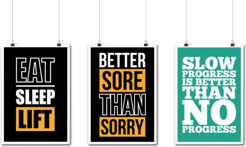 Set Of Three Best Gym Motivational And Fitness Quotes Poster Paper Print