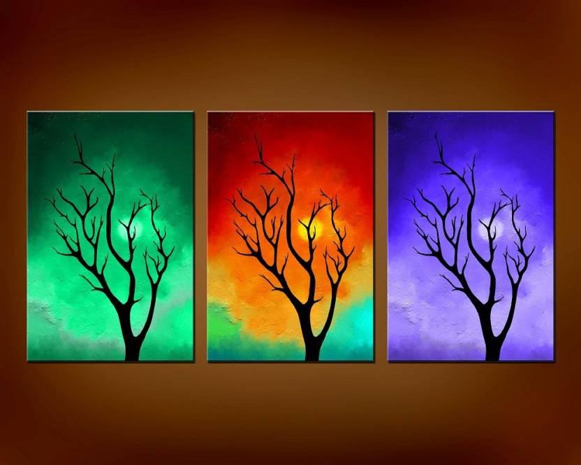 Abstract Modern Art Canvas Painting X 3 Nos Canvas Art Nature Art