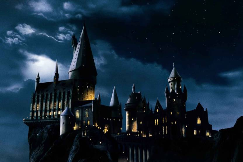 Hogwarts Castle Night Background Paper Print