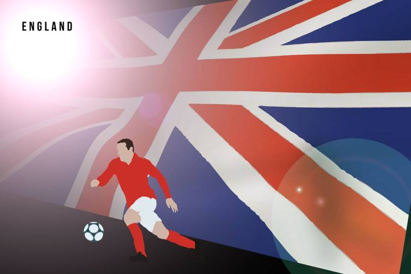 England Football Flag Photographic Paper Sports Posters In India