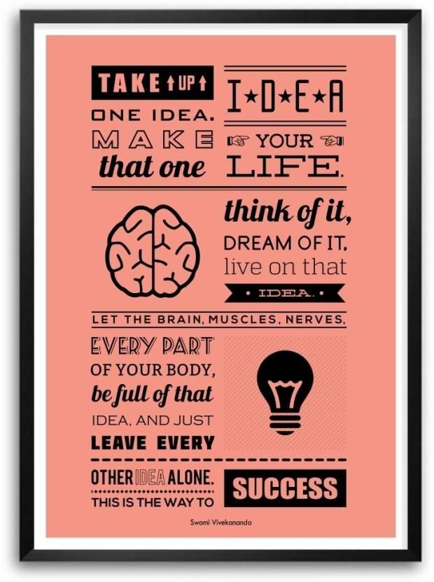 Take Up One Idea Swami Vivekananda Inspirational Wall Decor Quotes
