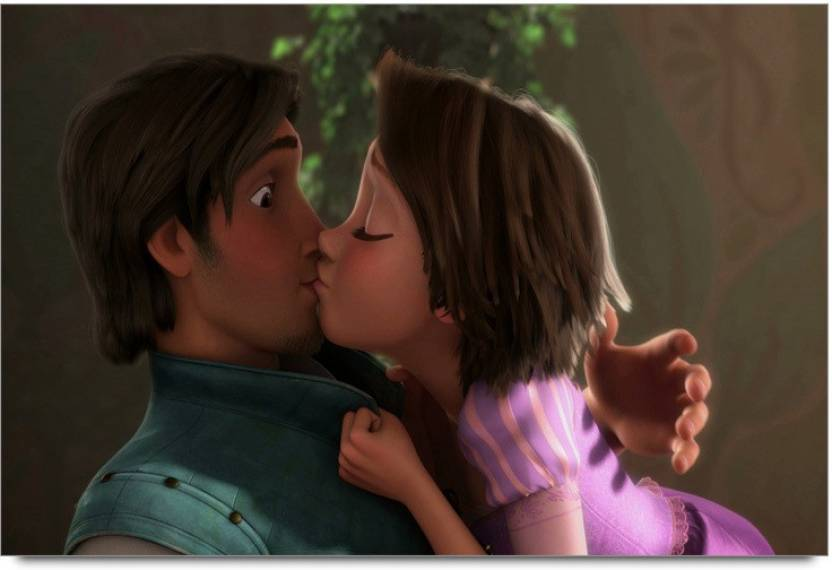 Tangled Rapunzel Kisses Paper Print
