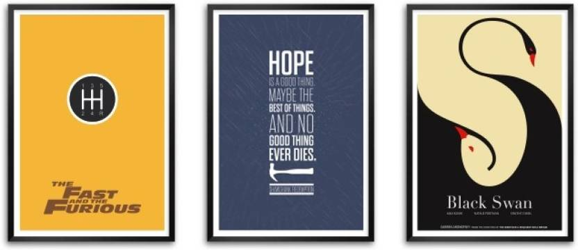 Set Of Three Famous Exciting Movie Quotes Framed Poster Paper