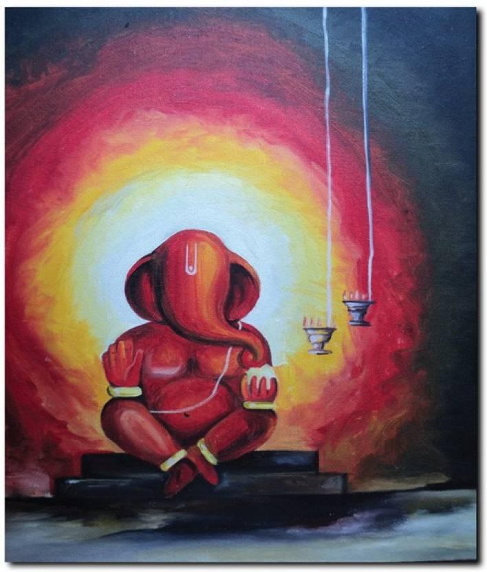 stybuzz modern art ganesha painting frameless canvas art