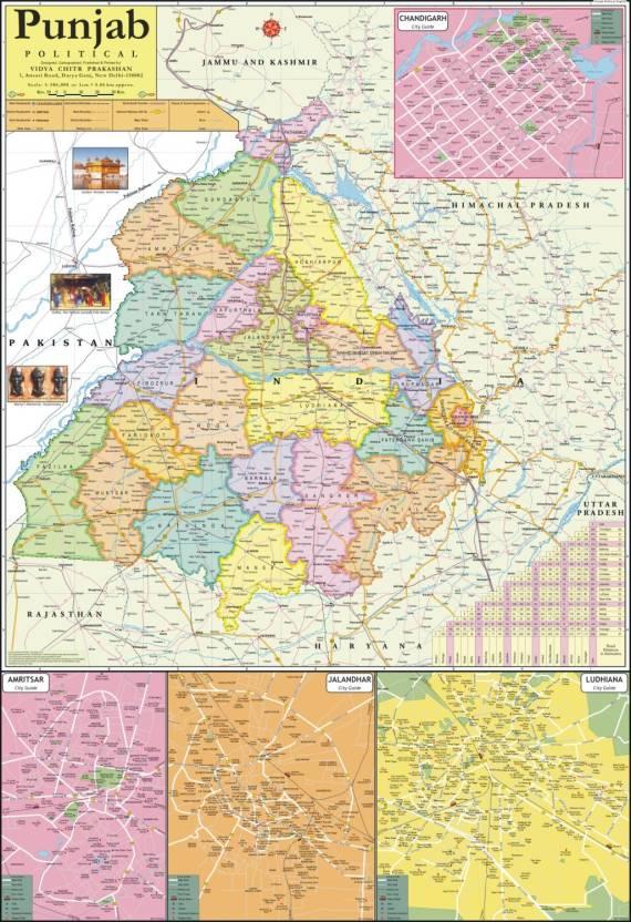 Punjab map paper print vidya chitr prakashan posters places punjab map paper print gumiabroncs Choice Image