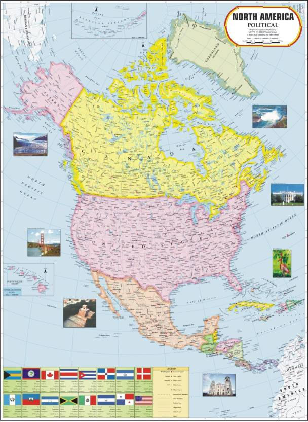 North america political map paper print maps posters in india north america political map paper print gumiabroncs Image collections