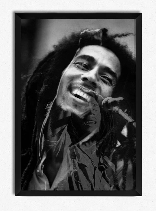 Bob Marley Black White Officially Licensed Framed Paper Print