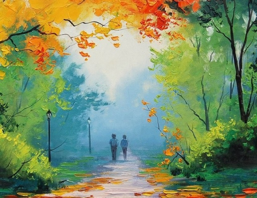 Image of: Street Art Wonder Images Painted Beautiful Woods With Back Framing Canvas Art 12 Inch 15 Inch Flipkart Wonder Images Painted Beautiful Woods With Back Framing Canvas Art