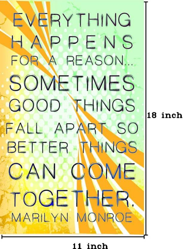 Everything Happens For A Reason Paper Print Quotes Motivation