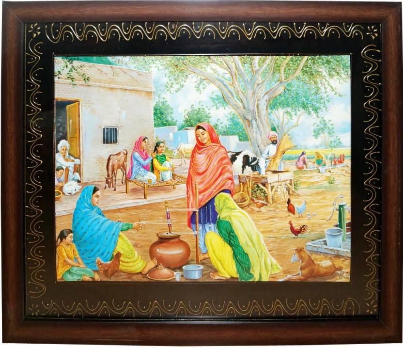 Rural Rajasthani Village Paintings With Frame Fine Art Print