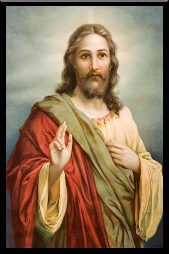 Divine Jesus Blessings Wood Framed Poster S Wp1509 By Spoilt Paper