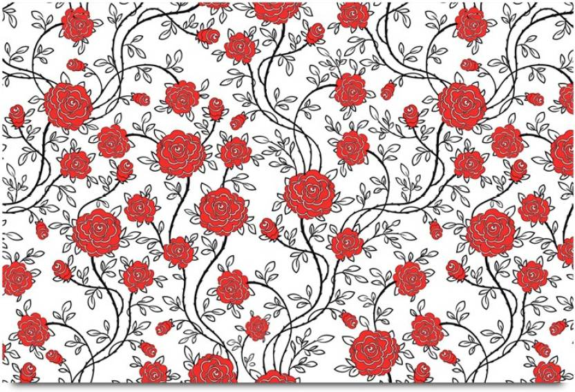 Red Rose Floral Pattern Paper Print