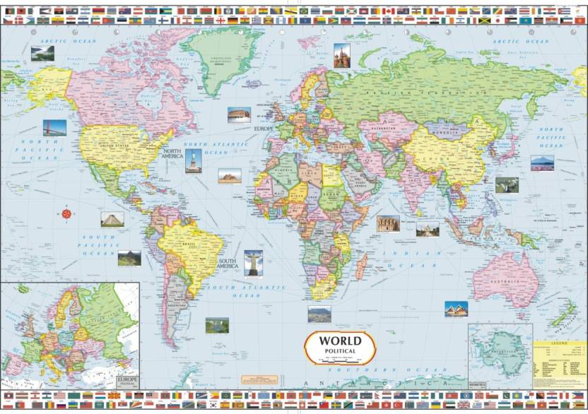 World political map paper print maps posters in india buy art world political map paper print gumiabroncs Image collections