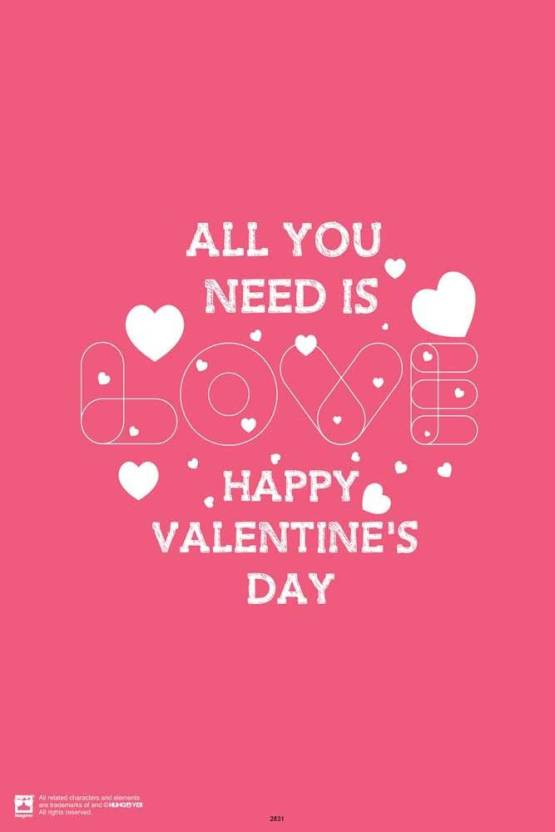 Happy Valentines Day Paper Print Quotes Motivation Posters In