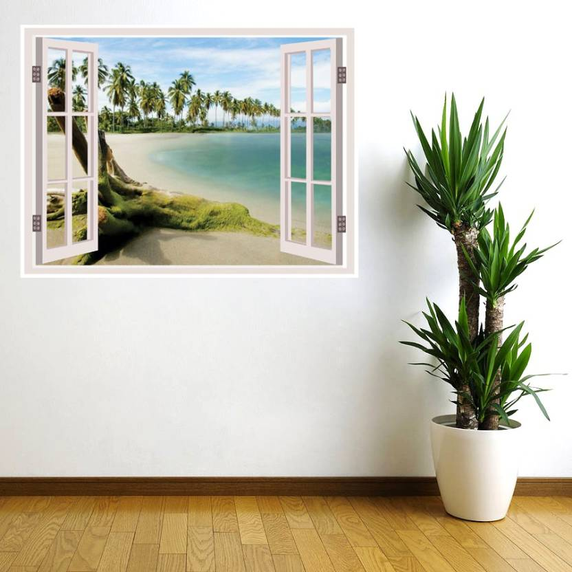 Decor Wall Sea Beach Window Illusion 3d Poster Nature Posters In