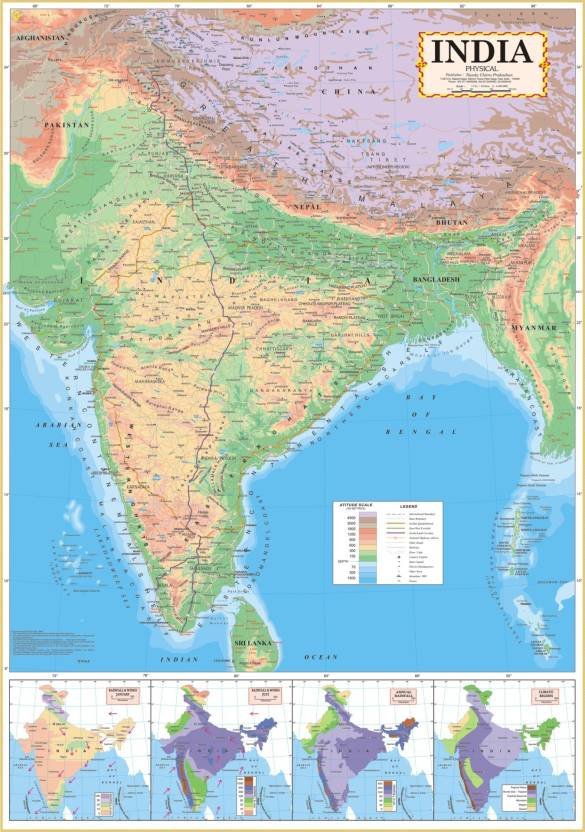 India physical wall map english paper print educational maps india physical wall map english paper print gumiabroncs Image collections