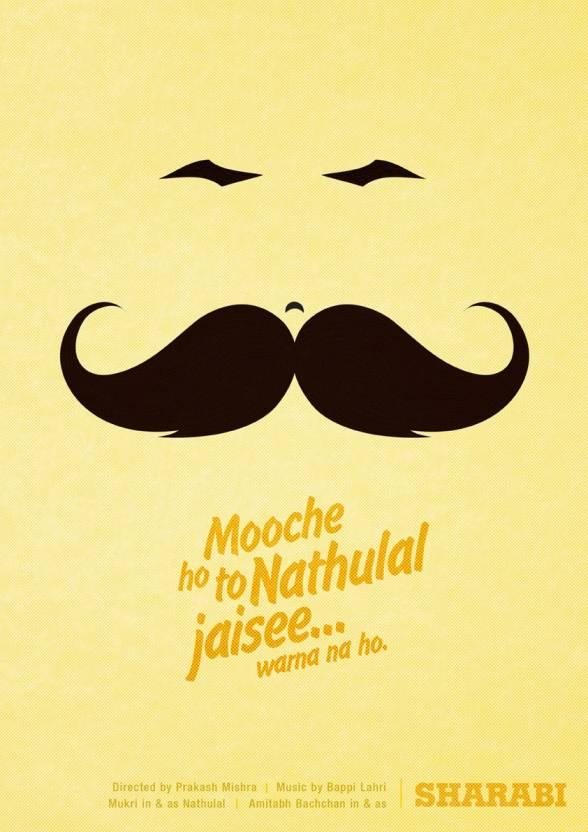 Mooche Ho To Nathulal Jaisi Funny Hindi Minimal A4 Wall Canvas Art ...