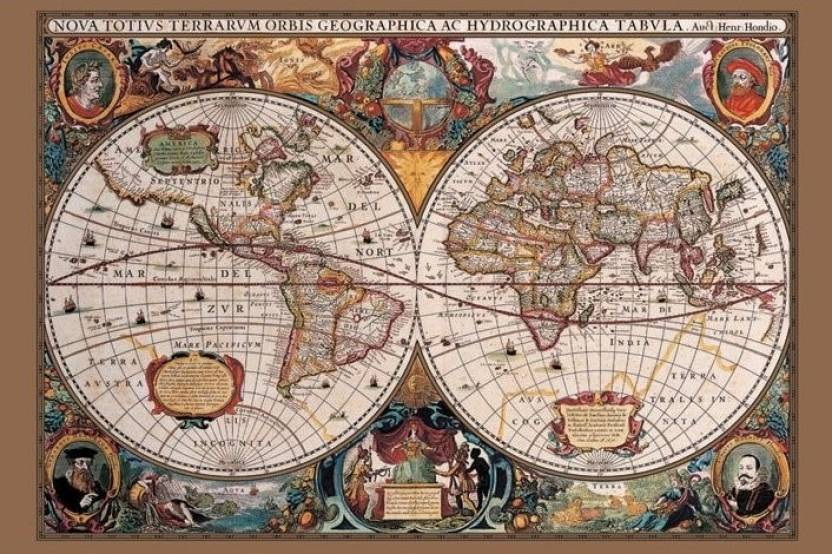 Gold World Map Poster.17th Century World Map Gold Ink Paper Print Maps Posters In