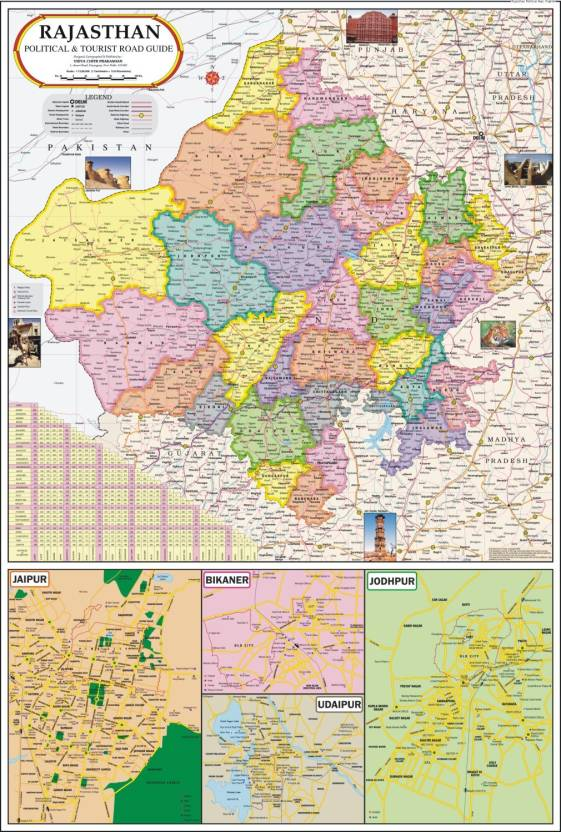 Rajasthan map political paper print maps posters in india rajasthan map political paper print gumiabroncs Image collections