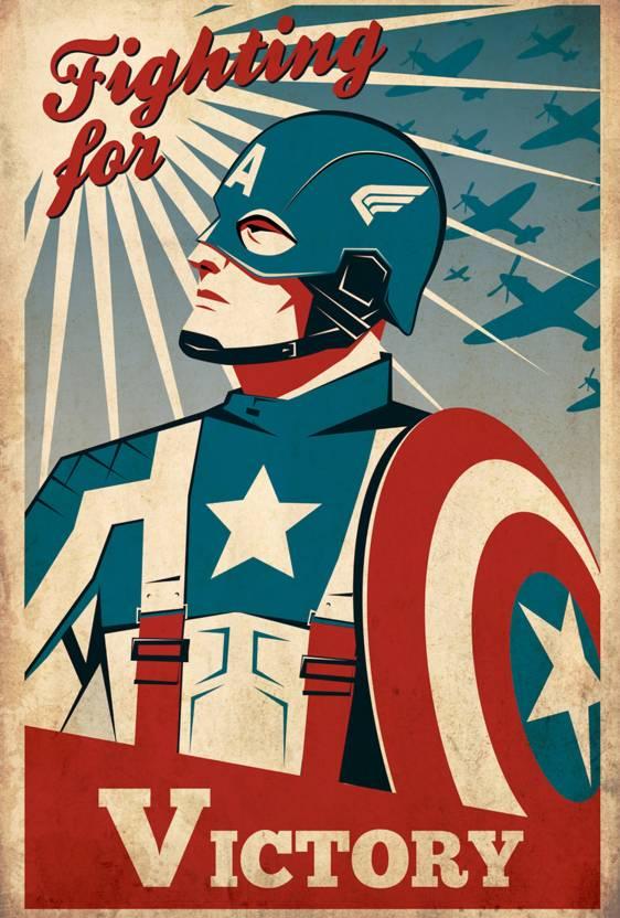Captain America Vintage Poster Paper Print