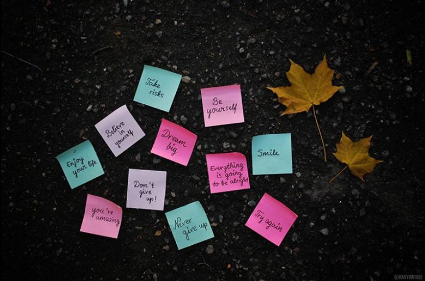 Motivational Sticky Notes Poster Paper Print (12 inch X 18 inch, Rolled)