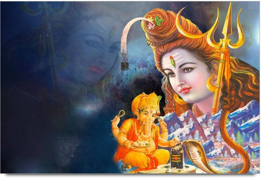 Amy Lord Shiva with Lord Ganesha 3D Poster - Nature, Nature