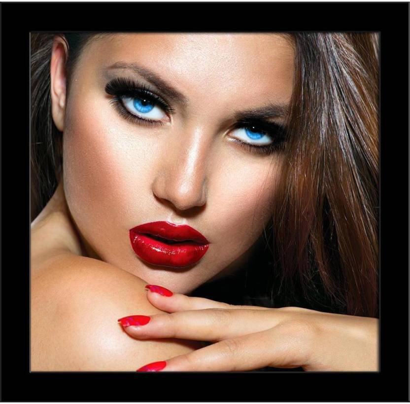 Sexy Girl With Red Lips And Nails Framed Art Print Canvas