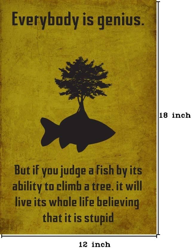 Everybody Is Genius Albert Einstein Paper Print Quotes