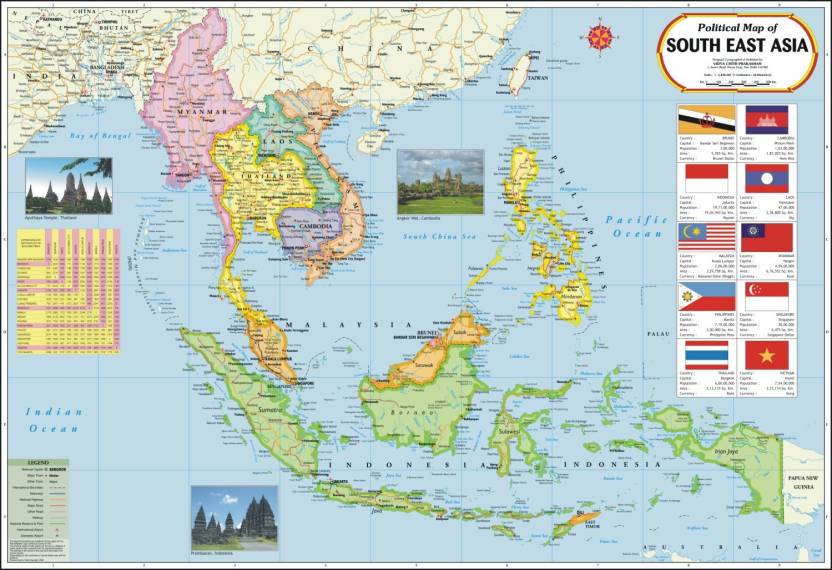 Map Of Asia To Print.South East Asia Map Paper Print Maps Posters In India Buy Art