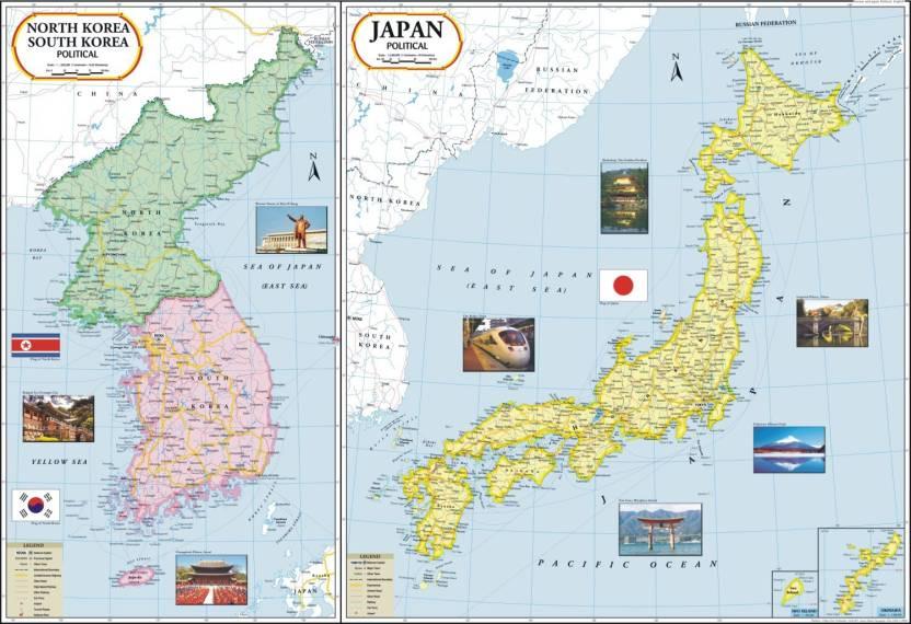 Japan-North Korea-South Korea Map Paper Print - Maps posters in ...