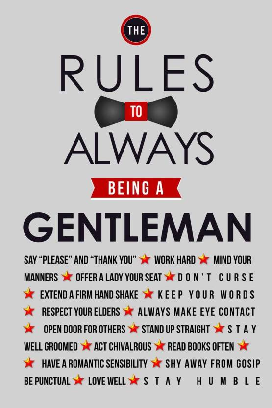 Eurekadesigns Being Gentleman Paper Print Quotes Motivation