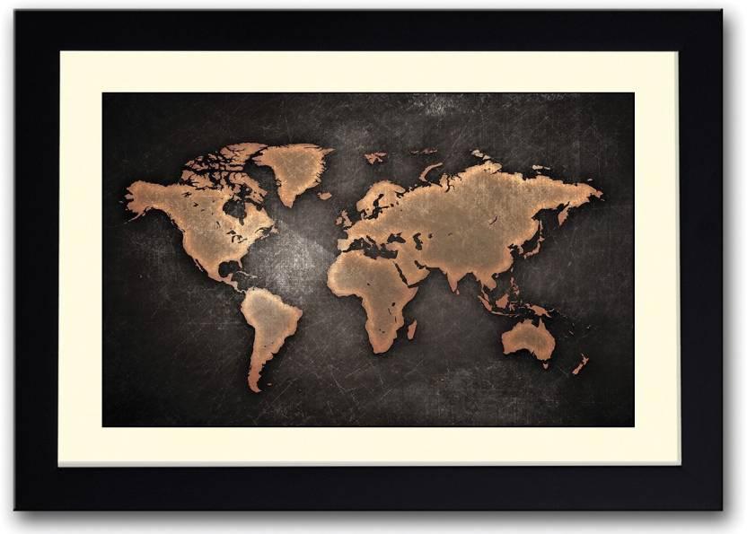 World map in bronze colour fine art print art paintings posters world map in bronze colour fine art print gumiabroncs Image collections
