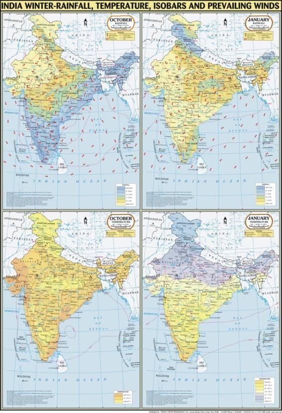India Map Winter : Temperature, Rainfall, Pressure & Winds Paper ...