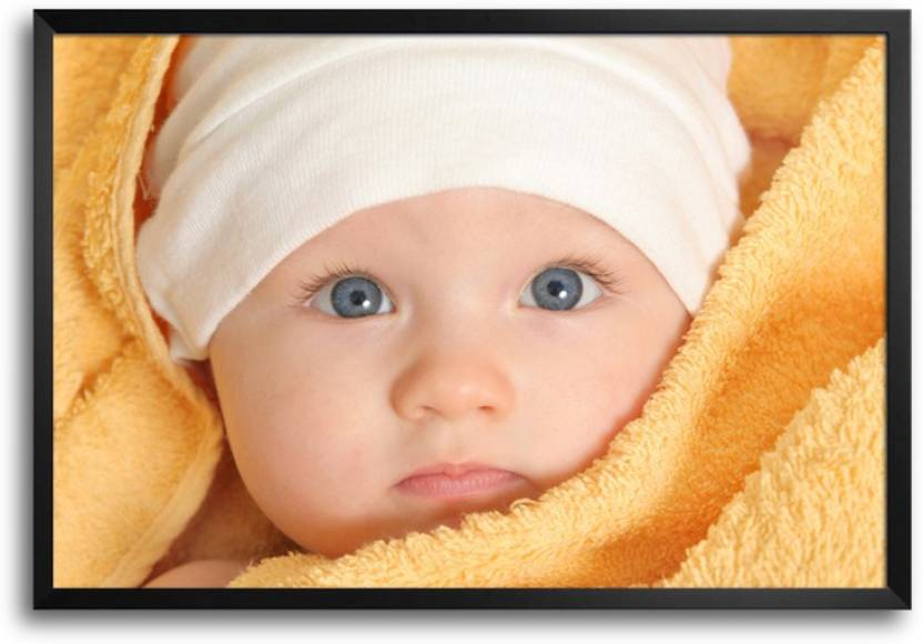 cute baby boy with towel laminated framed paper print art