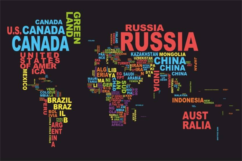 Athah poster world map names country paper print places posters athah poster world map names country paper print gumiabroncs Image collections
