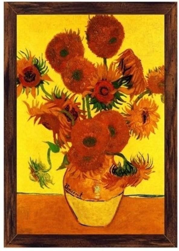 Still Life Vase With Fifteen Sunflowers 3 Canvas Art Vincent Van