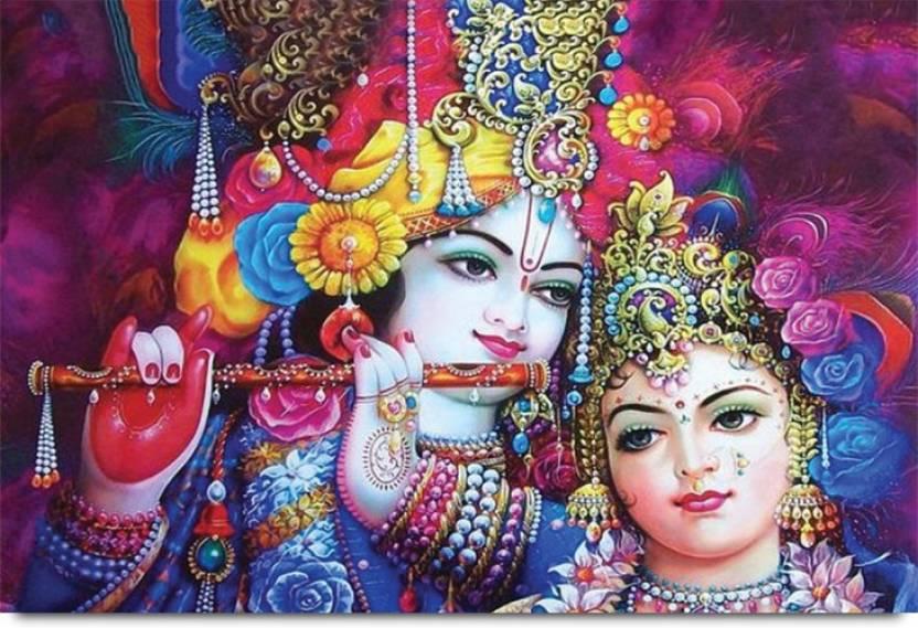 Beautifully Decorated Lord Krishna and Radha Ji Paper Print