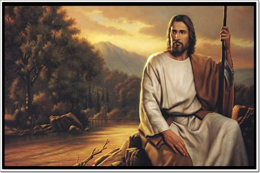 jesus christ sitting in jungle poster paper print religious