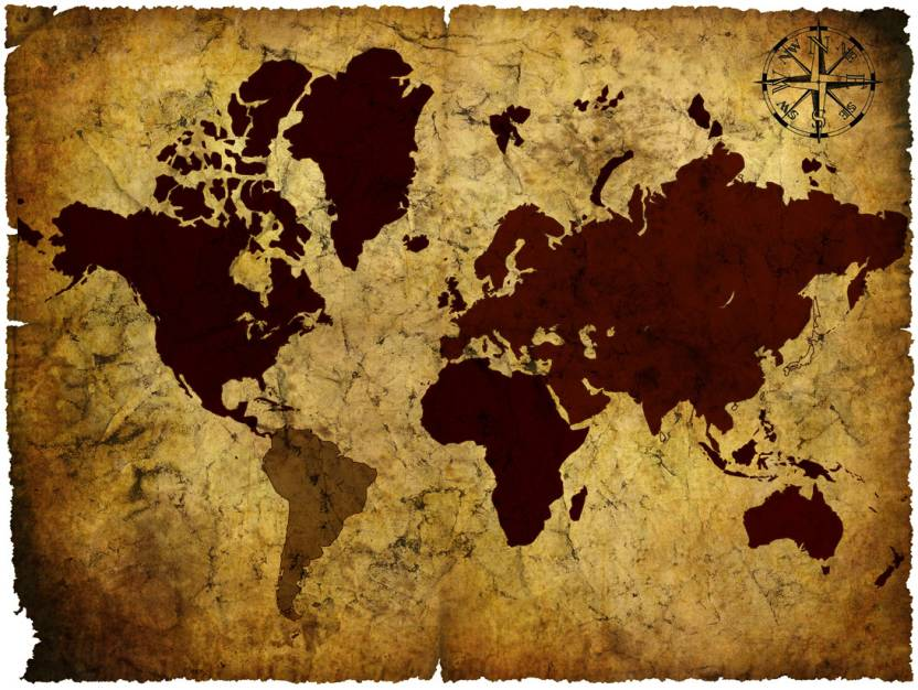 Vintage World Map Paper Print Maps Posters In India Buy Art - World map wallpaper for walls india