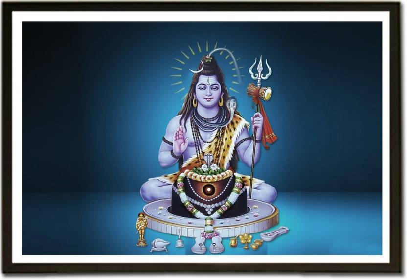 Framed Shiva Linga with Lord Shiva Fine Art Print - Religious