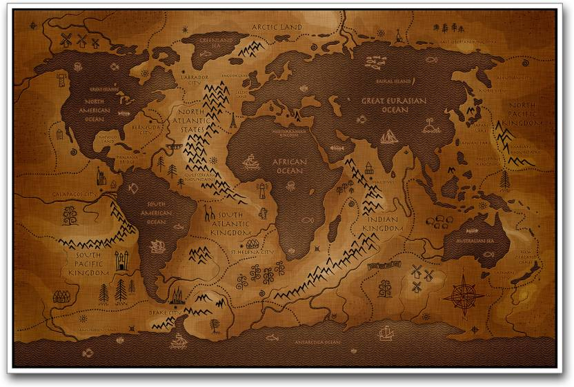 Ancient World Map Paper Print Maps Posters In India Buy Art - Small world map poster