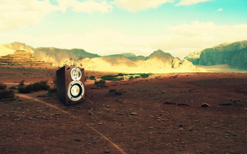 Music Speakers Desert Mountain Hd Wallpaper Background Fine Art